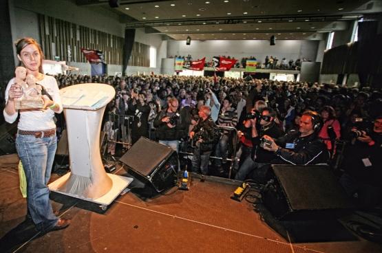 Inge Neefs a reçu le Prix Solidaire 2010 le 25 septembre dernier à ManiFiesta. (Photo Solidaire, Salim Hellalet)