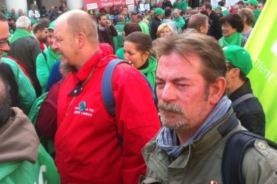 Frédéric GIllot au rassemblement syndical d'avertissement au gouvernement fédéral de droite du 23 septembre 2014. (Photo Solidaire)