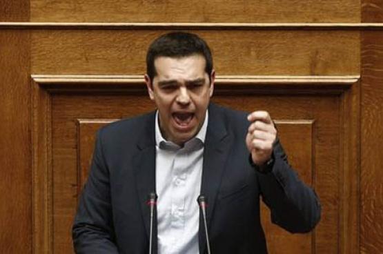 Alexis Tsipras devant le nouveau Parlement, dimanche 8 février. (Photo Alkis Konstantinidis/Reuters)