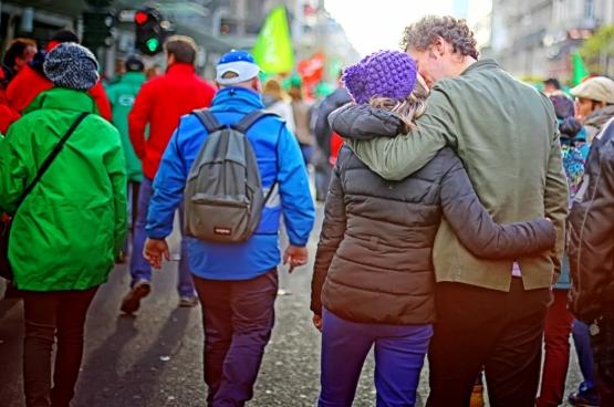 6 novembre 2014, 120 000 personnes marchent dans les rues de Bruxelles contre les mesures du gouvernement. (Photo Solidaire, Salim Hellalet)
