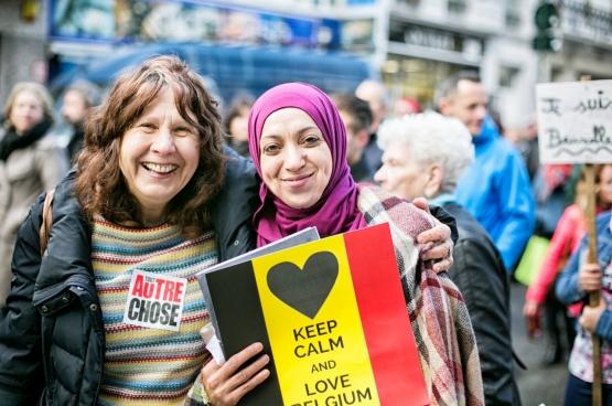 Le 17 avril, on a vu Bruxelles dans toute sa diversité lancer un message clair : « Daech casse-toi, Bruxelles n'est pas à toi ! » (Photo Solidaire)