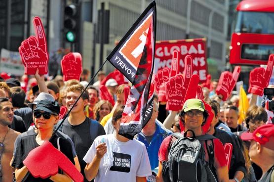 En 2014 déjà (le 12 juillet exactement), des manifestants envahissaient les rues de Londres pour protester contre le TTIP. (Photo Global Justice Now)