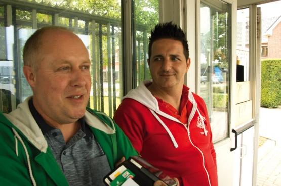 David Scheveneels, le jeune délégué principal de la FGTB, et Dirk Nys, son homologue un peu plus âgé de l'ACV (CSC), (Photo Solidaire, Dirk Henrard)