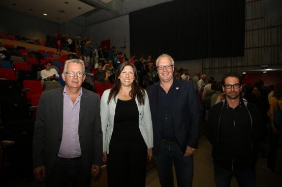 De gauche à droite : Pierre Laurent (PCF), Zoe Konstantopoulou (ex-présidente du Parlement grec), Peter Mertens (PTB) et Ismael Gonzalez (IU). (Photo : Dieter Boone)