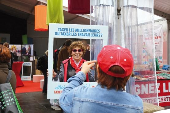 L'oxygène dont ont besoin les travailleurs, nous voulons aller le chercher chez les super-riches, avec une taxe des millionnaires. (Photo Solidaire, Dieter Boone)