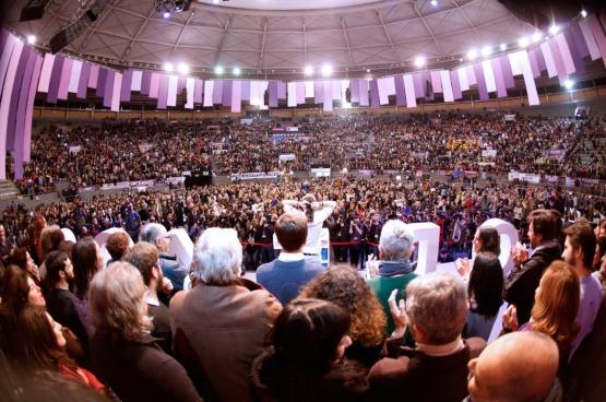 Photo de la séance de clôture du Congrès Vistalegre 2. (Photo Twitter Podemos)