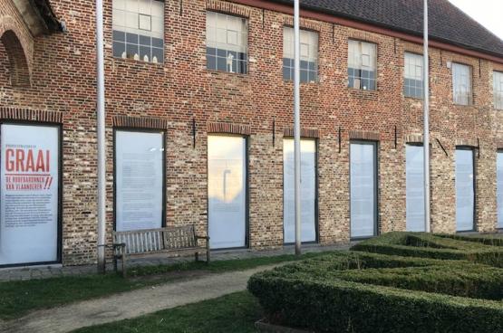 L'ACOD Culture (aile néerlandopohone de la CGSP, la centrale des services publics de la FGTB) a décoré la vitrine de l'espace artistique expérimental Croxhapox à Gand. (Photo ACOD)