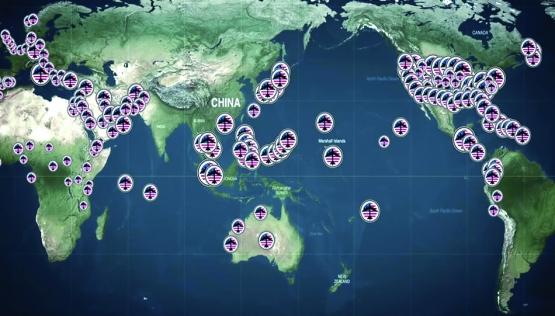 Les bases militaires étasuniennes dans le monde.