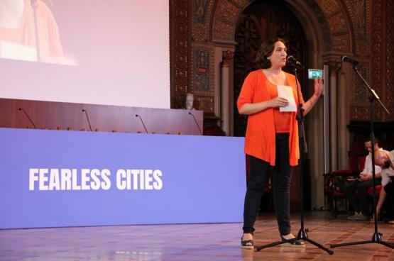Ada Colau, bourgmestre de Barcelone, lors du sommet Fearless Cities qui a eu lieu du 9 au 11 juin derniers. (Photo Solidaire)