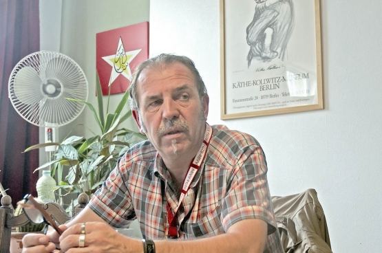 Karel Meganck, délégué SETCa chez AG Insurance (Photo Solidaire, Dirk Tuypens).
