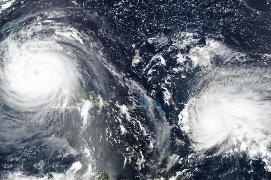 Les ouragans Irma (Ouest) et Jose (Est), 8 septembre 2017, Antilles. (Photo NASA)