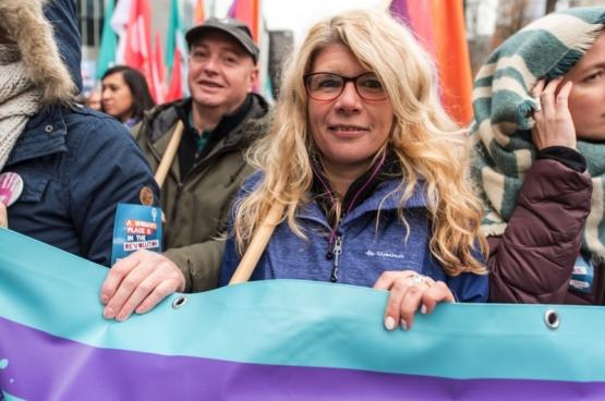 Françoise De Smedt, à la marche contre les violences faites aux femmes, le  25 novembre 2017 à Bruxelles. (Photo Solidaire, Karina Brys)