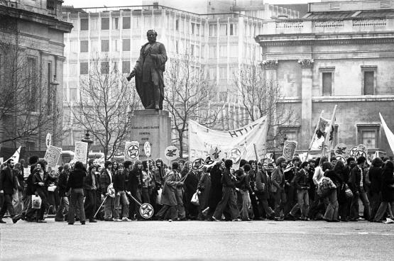 Manifestation Rock Against Racism, Trafalgar Square, 1978. (Photo Sarah Wyld / Wikimedia)