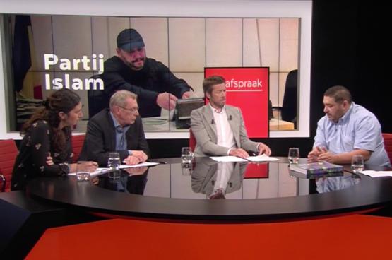 Redouane Ahrouch, fondateur du parti Islam, sur le plateau de l'émission « De Afspraak ».