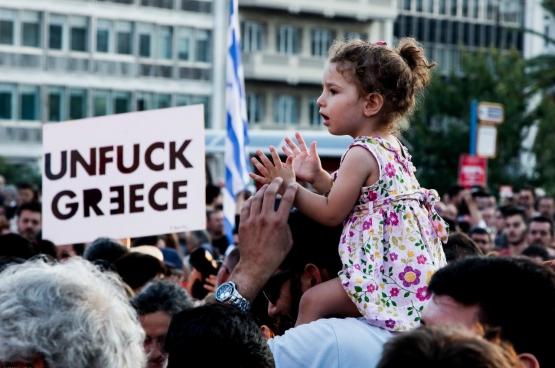 Juin 2015, manifestation à Athènes après que le gouvernement ait accepté les mesures d'austérité européennes. (Photo Jan Wellman, Flickr)
