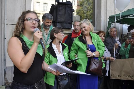 Marina Künzi, permanente CNE, lors du rassemblement  en mémoire de Silvie. (Photo CNE)