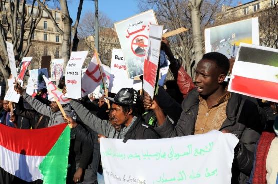 Manifestation en soutien à la mobilisation contre le président el-Béchir au Soudan à Marseille le 29 décembre 2018 (Photo Belga)
