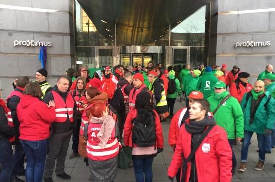 Le 15 janvier, les travailleurs de Proximus étaient en grève pour protester contre le plan de licenciements. (Photo Solidaire)