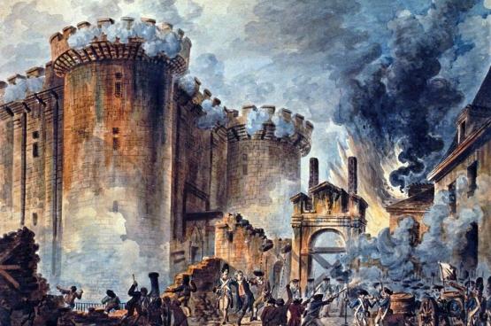 """⊳ La prise de la Bastille par le peuple constitue un moment symboliquement puissant. (""""La prise de la Bastille"""", par Jean-Pierre Houël, 1789)"""