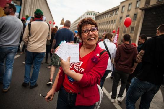 En mai 2018, lors d'une manifestation contre la réforme des pensions. (Photo Solidaire Fabienne Pennewaert)