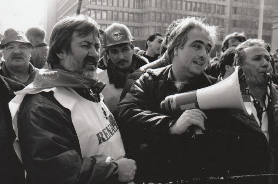 Stan (à gauche), lors de la lutte pour Renault Vilvorde. (Photo Solidaire)