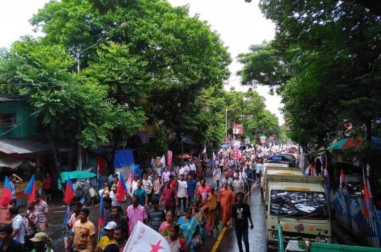 Manifestation contre l'annexion du Cachemire le 7 août dernier, organisée par les partis de gauche indiens. (Photo CPI(M))