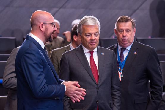 Charles Michel (à gauche) et Didier Reynders (deuxième à gauche) - Photo, OTAN