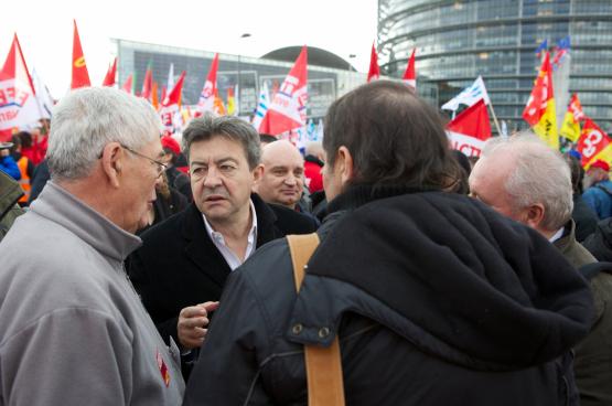Jean-Luc Mélenchon, leader de La France Insoumise, en première ligne contre la politique néolibérale du président Macron (Photo GUE/NGL).