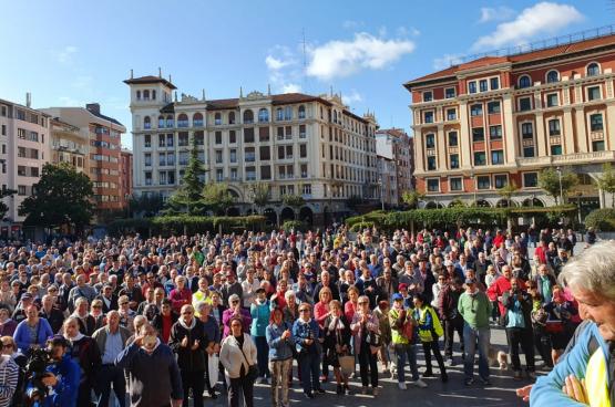 Rassemblement du lundi 21 octobre à Baracaldo (Bilbao). Photo: Coordinadora Estatal por la Defensa del Sistema Público de Pensiones.