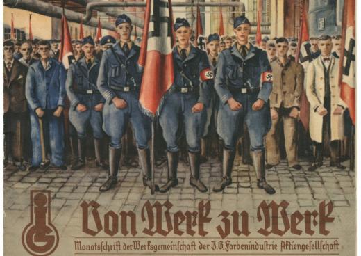 Le magazine d'entreprise d'IG Farben avec des nazis en couverture. L'entreprise a fondé avec les SS une gigantesque usine de biochimie à Auschwitz. (Photo D.R.)