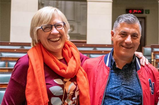 Maria Vindevoghel et Roberto d'Amico. (Photo Solidaire, Stefaan Van Parys)
