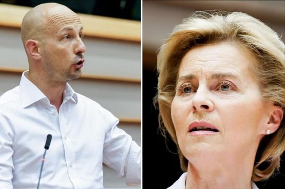 Marc Botenga, eurodéputé du PTB, et Ursula Von der Leyen, présidente de la Commission européenne. (Images European Union 2020)