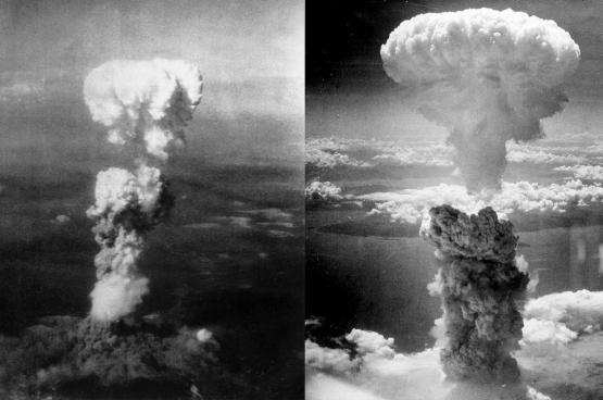 Champignons atomiques sur Hiroshima et Nagasaki. (Photos George R. Caron)
