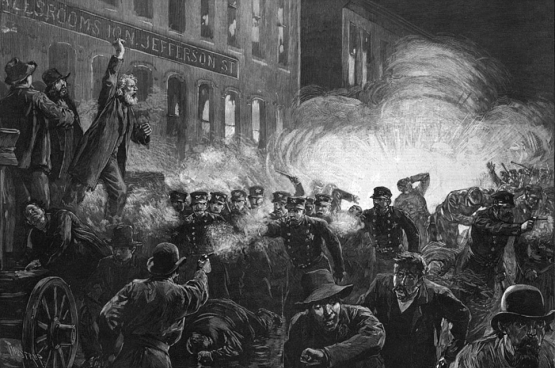 « The Haymarket Riot », Haymarket square, Chicago, 1886.