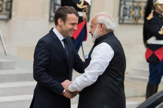 Le président français Emmanuel Macron et son « grand ami » Narendra Modi, Premier ministre indien. (Photo Frédéric Legrand)