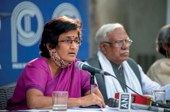 Mariam Dhawale est la secrétaire générale de l'AIDWA, All India Democratic Women's Association. (Photo Belga)