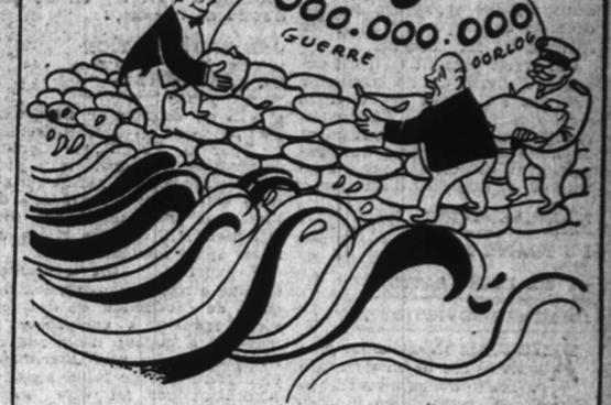 En 1953, le gouvernement est très critiqué pour son manque d'anticipation face aux inondations alors qu'il s'obstine à maintenir son important budget militaire. (Dessin Diluck)