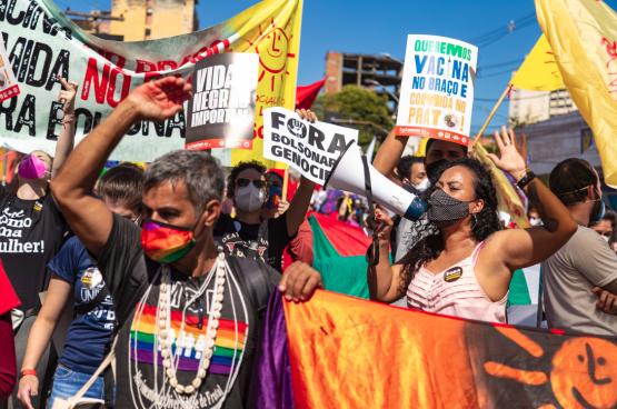 Manifestation contre le président Bolsonaro en juillet dernier. (Photo Angela Macario) à