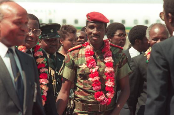 Le président Thomas Sankara en 1986, un an avant son assassinat. (Photo AFP)